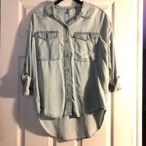 Forever 21 denim chambray distressed long sleeve